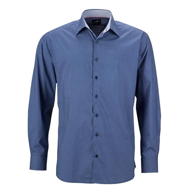Blue-White - Front - James and Nicholson Mens Classic Fit Wings Shirt