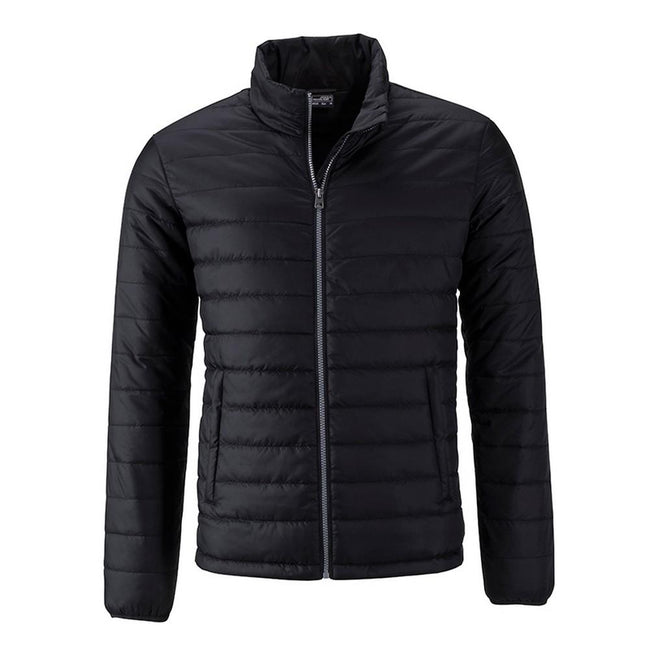 Black - Front - James and Nicholson Mens Padded Jacket
