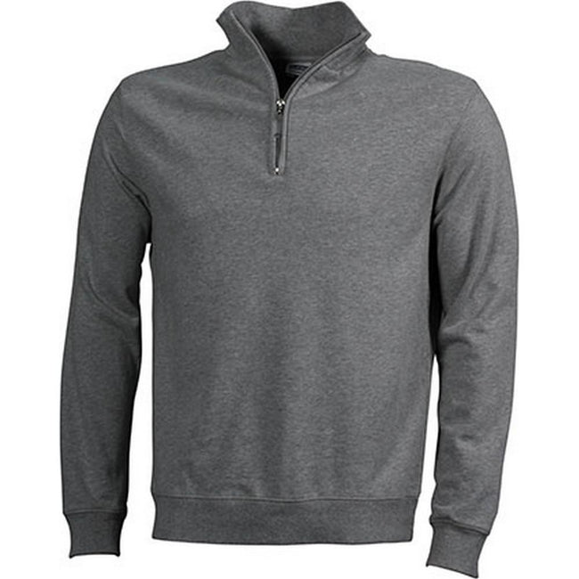 Sports Grey - Front - James and Nicholson Mens Round-Neck Zip Top