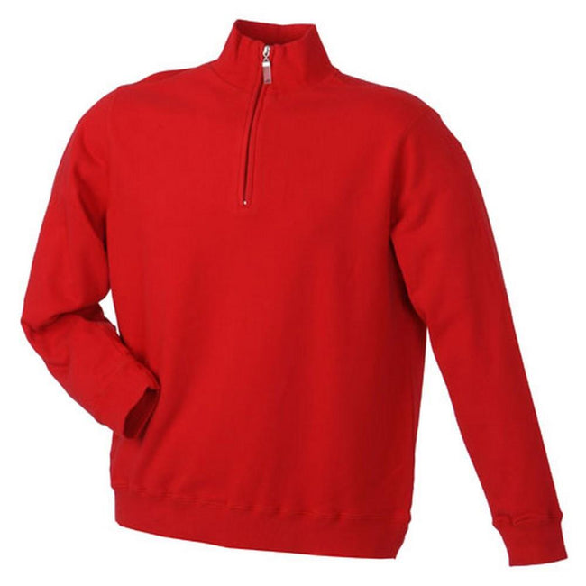 Red - Front - James and Nicholson Mens Round-Neck Zip Top