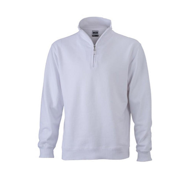 White - Front - James and Nicholson Mens Round-Neck Zip Top