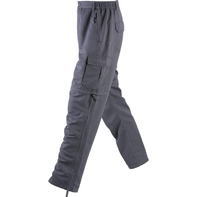 Carbon Grey - Front - James and Nicholson Mens Zip-Off Pants