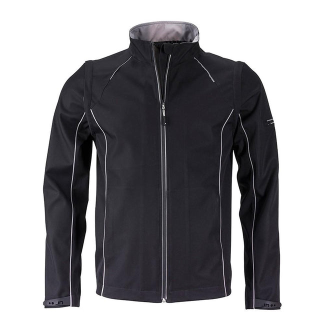 Black-Silver - Front - James and Nicholson Mens Zip-Off Softshell Jacket