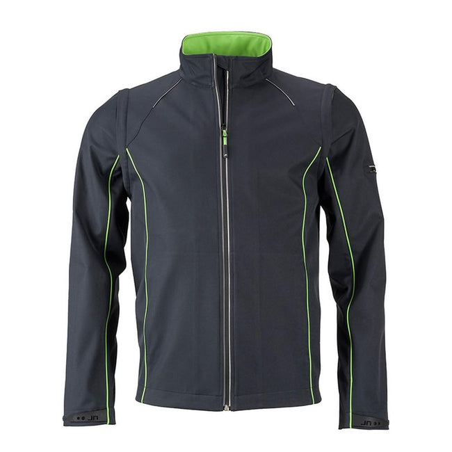 Iron Grey-Green - Front - James and Nicholson Mens Zip-Off Softshell Jacket