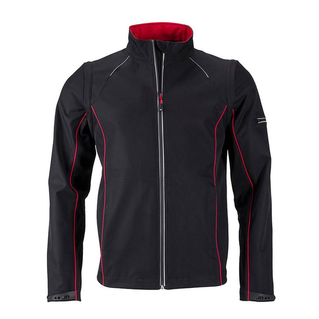 Black-Red - Front - James and Nicholson Mens Zip-Off Softshell Jacket