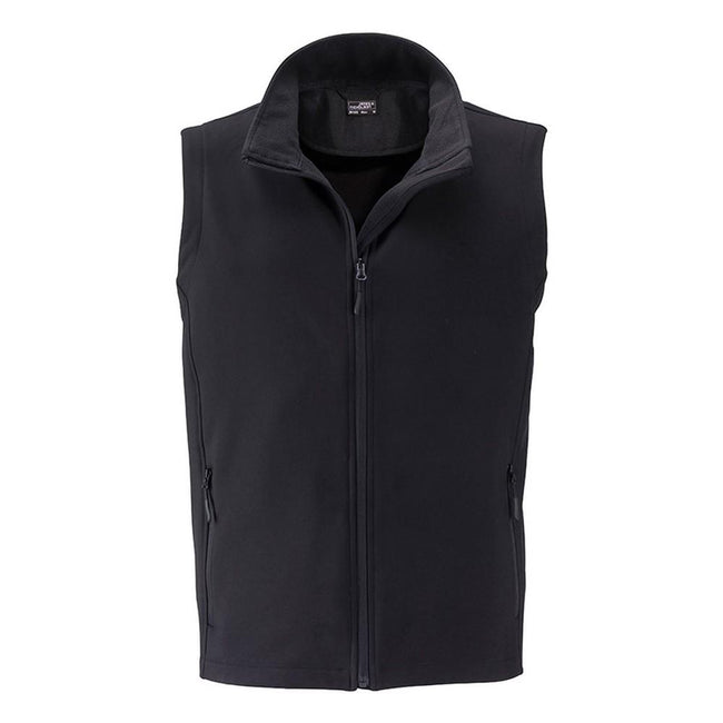 Black-Black - Front - James and Nicholson Mens Promo Softshell Vest