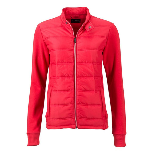 Light Red - Front - James and Nicholson Womens-Ladies Hybrid Sweat Jacket