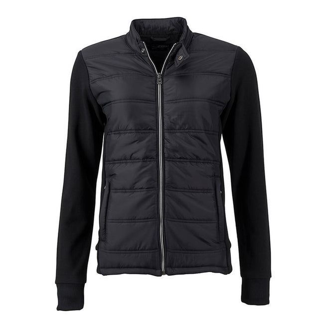 Black - Front - James and Nicholson Womens-Ladies Hybrid Sweat Jacket