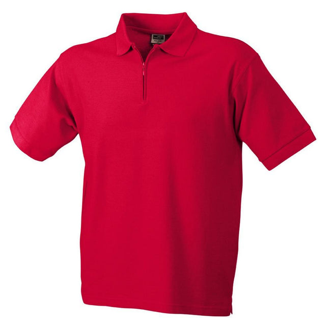Red - Front - James and Nicholson Mens Pique Zip Polo