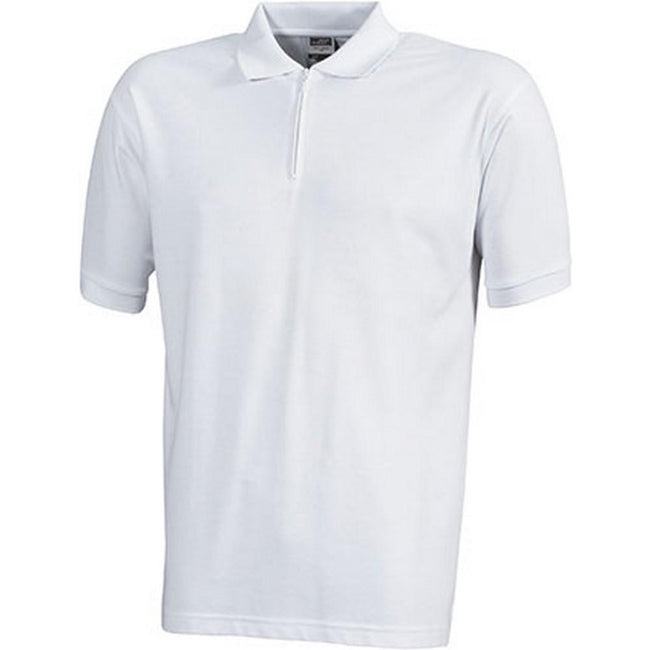 White - Front - James and Nicholson Mens Pique Zip Polo