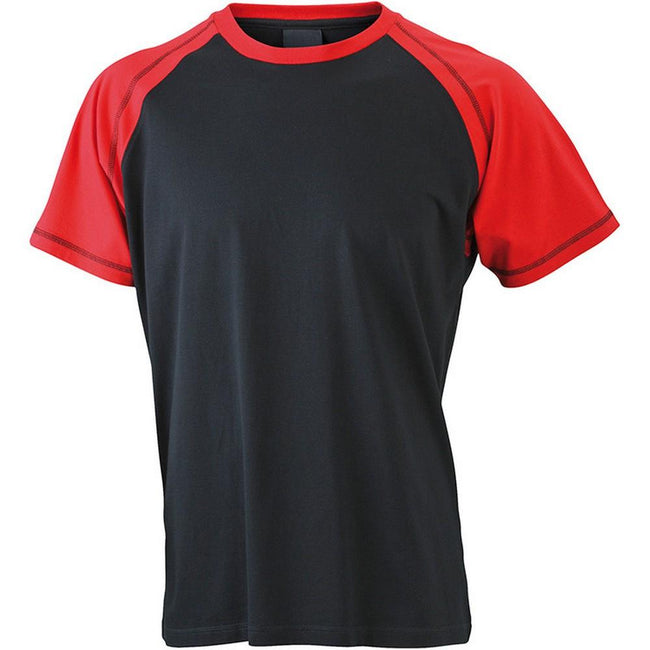Black-Red - Front - James and Nicholson Mens Raglan Tee