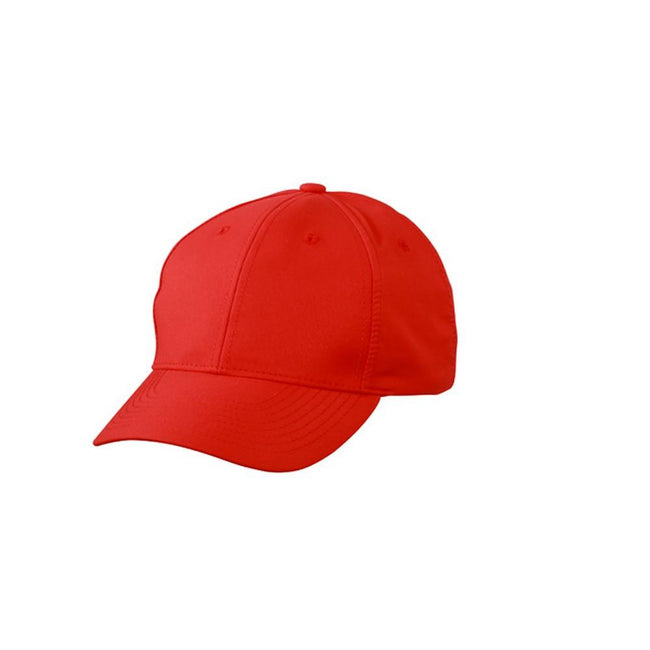 Tomato Red - Front - Myrtle Beach Adults Unisex 6 Panel Polyester Peach Cap
