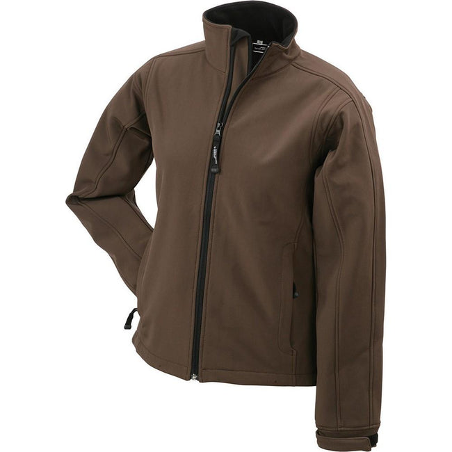 Brown - Front - James and Nicholson Womens-Ladies Waterproof Softshell Jacket