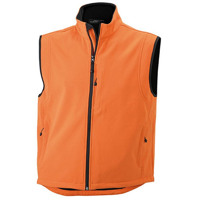 Pop Orange - Front - James and Nicholson Mens Waterproof Softshell Vest