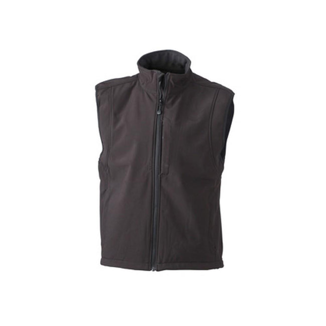Black - Front - James and Nicholson Mens Waterproof Softshell Vest
