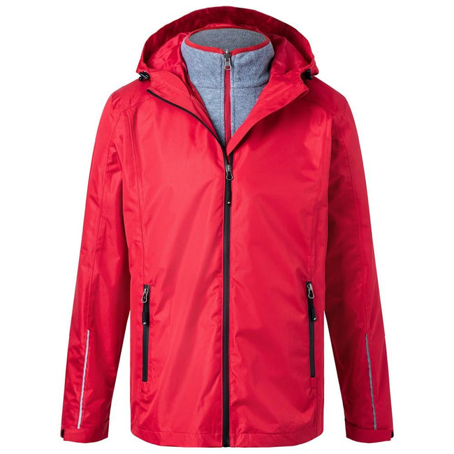 Red-Black - Front - James and Nicholson Mens 3-in-1 Jacket