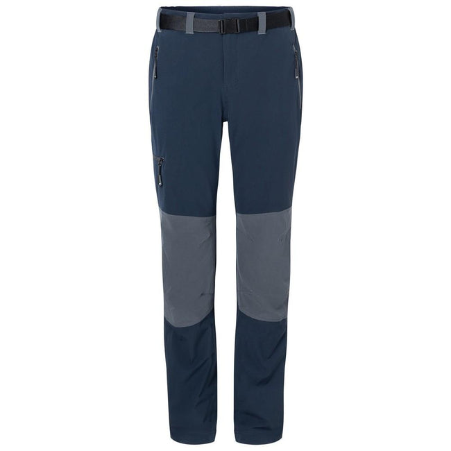 Navy-Carbon Grey - Front - James and Nicholson Mens Trekking Pants