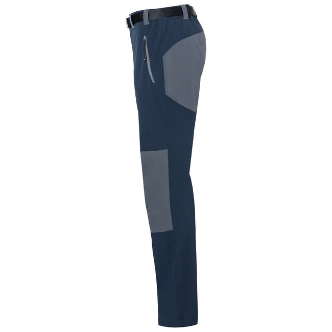 Navy-Carbon Grey - Side - James and Nicholson Mens Trekking Pants