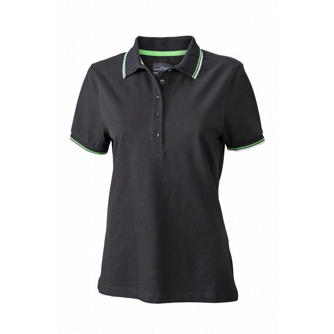 Black-White-Lime Green - Front - James and Nicholson Womens-Ladies Coldblack Polo