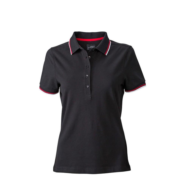 Black-White-Red - Front - James and Nicholson Womens-Ladies Coldblack Polo