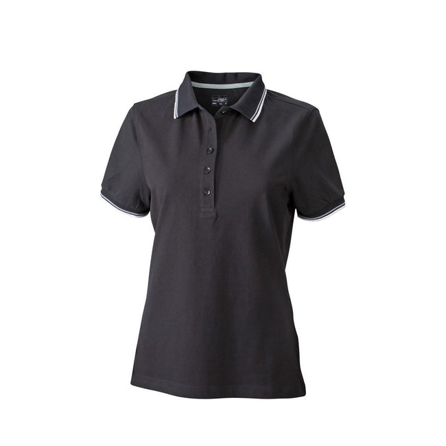 Black-White-Grey - Front - James and Nicholson Womens-Ladies Coldblack Polo