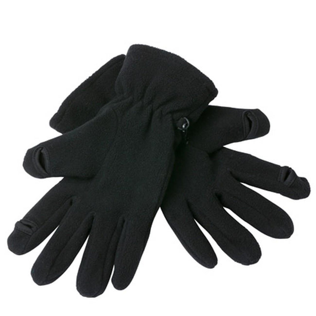 Black - Front - Myrtle Beach Adults Unisex Touch Screen Fleece Gloves