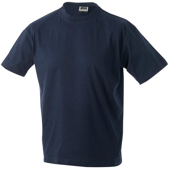 Navy - Front - James and Nicholson Unisex Heavy Round Tee