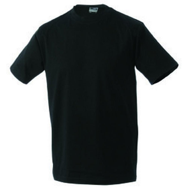 Black - Front - James and Nicholson Unisex Heavy Round Tee