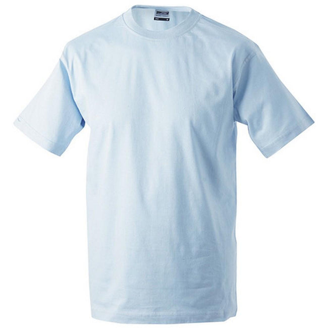 Light Blue - Front - James and Nicholson Unisex Heavy Round Tee