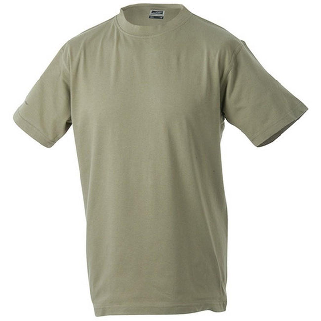 Khaki - Front - James and Nicholson Unisex Heavy Round Tee