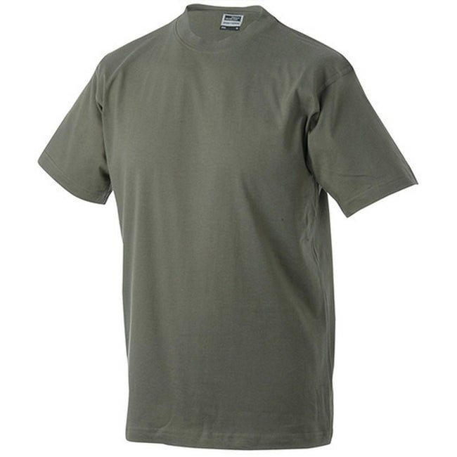 Olive Green - Front - James and Nicholson Unisex Heavy Round Tee