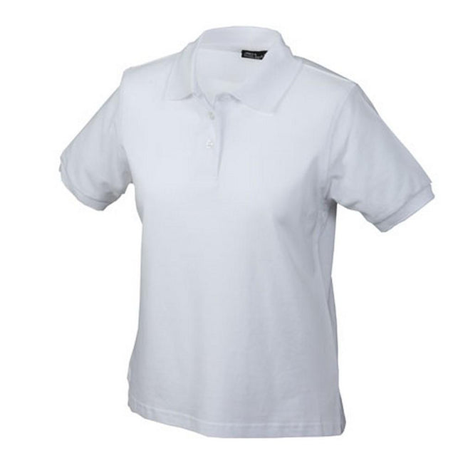 White - Front - James and Nicholson Womens-Ladies Classic Polo