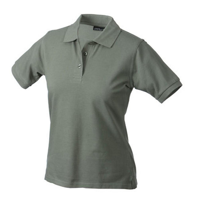 Olive Green - Front - James and Nicholson Womens-Ladies Classic Polo