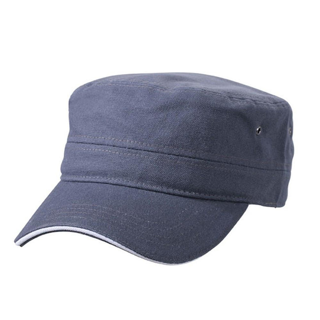 Anthracite Grey-White - Front - Myrtle Beach Adults Unisex Military Sandwich Cap