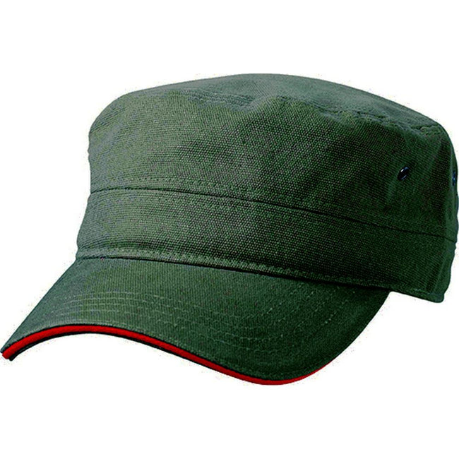 Olive Green-Red - Front - Myrtle Beach Adults Unisex Military Sandwich Cap