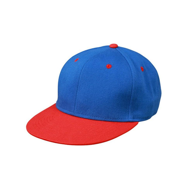 Royal Blue-Tomato Red - Front - Myrtle Beach Adults Unisex 6 Panel Pro Cap