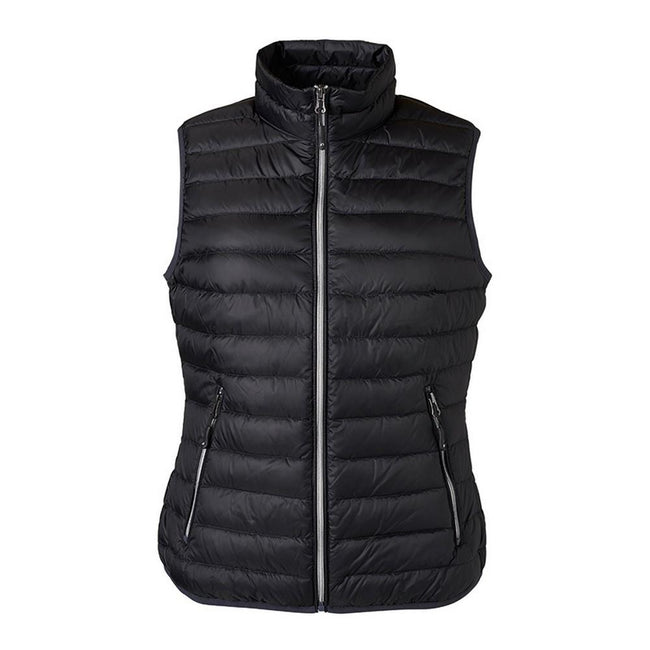 Black-Silver - Front - James and Nicholson Womens-Ladies Light Down Vest