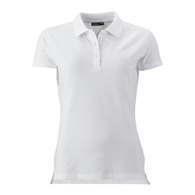 White - Front - James and Nicholson Womens-Ladies Elastic Pique Polo