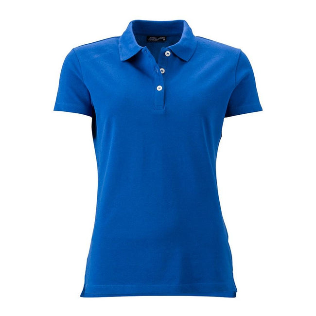 Royal Blue - Front - James and Nicholson Womens-Ladies Elastic Pique Polo