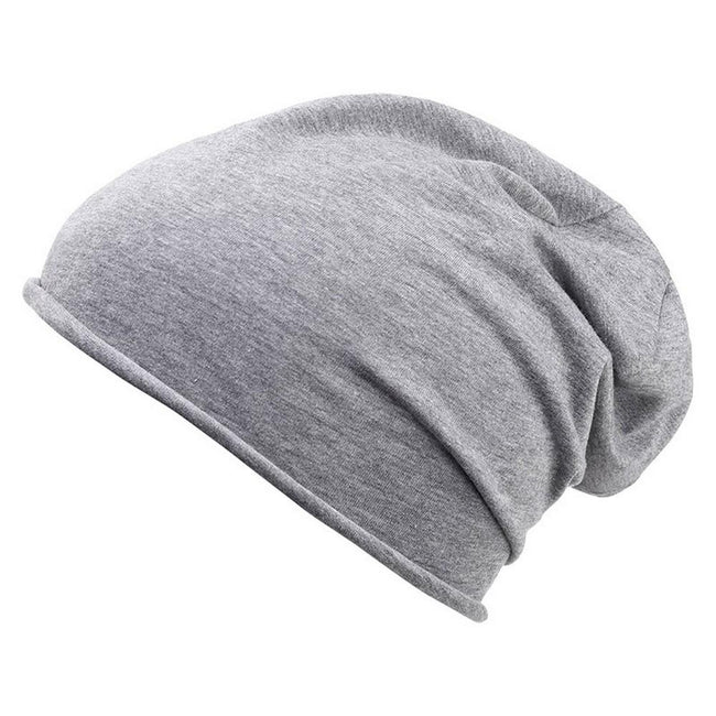 Grey Heather - Front - Myrtle Beach Adults Unisex Bio Cotton Beanie