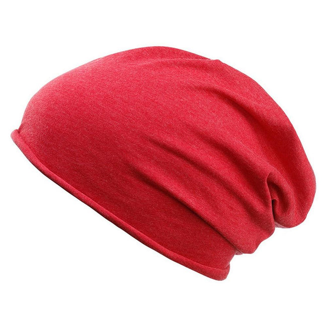 Carmine Red Melange - Front - Myrtle Beach Adults Unisex Bio Cotton Beanie