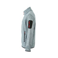 Light Grey Melange-Red - Back - James and Nicholson Mens Knitted Fleece Jacket
