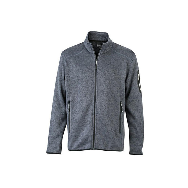 Dark Grey Melange-Silver - Front - James and Nicholson Mens Knitted Fleece Jacket