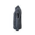 Dark Grey Melange-Silver - Back - James and Nicholson Mens Knitted Fleece Jacket
