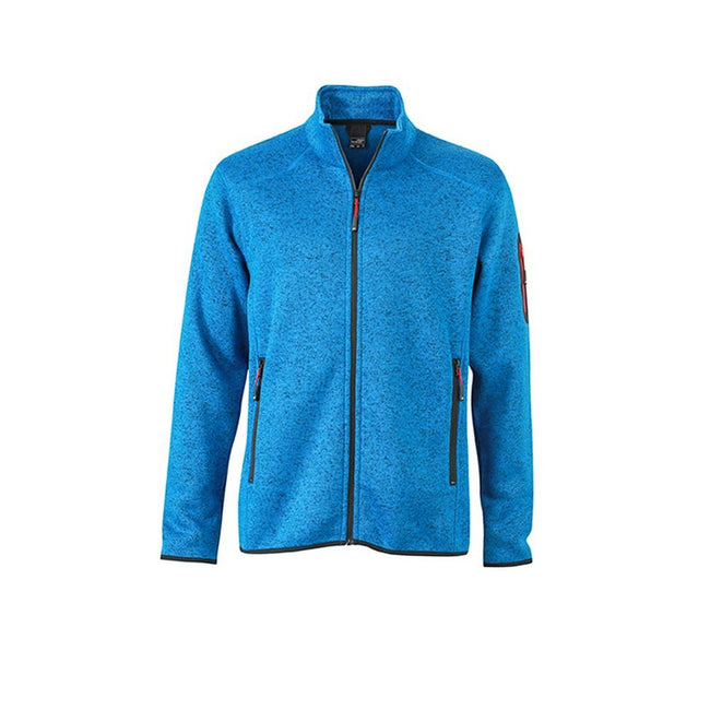 Royal Blue Melange-Red - Front - James and Nicholson Mens Knitted Fleece Jacket