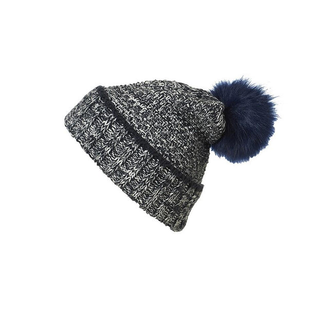 Navy-White - Front - Myrtle Beach Womens-Ladies Pompom Melange Beanie