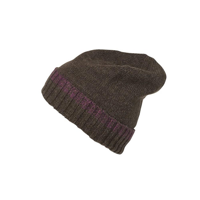 Brown Melange-Purple - Front - Myrtle Beach Adults Unisex Traditional Beanie