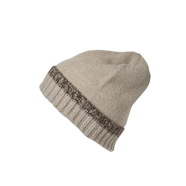 Beige-Brown Melange - Front - Myrtle Beach Adults Unisex Traditional Beanie