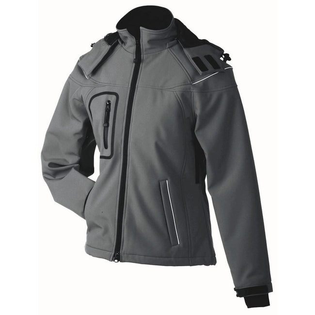 Carbon Grey - Front - James and Nicholson Womens-Ladies Winter Softshell Jacket