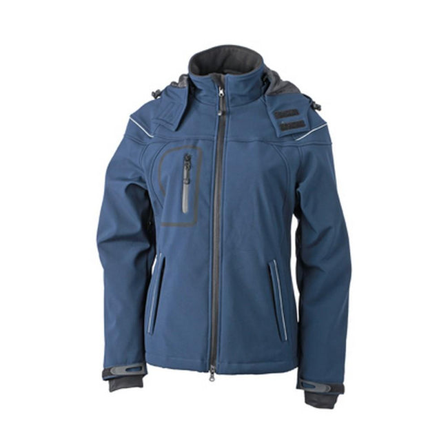 Navy - Front - James and Nicholson Womens-Ladies Winter Softshell Jacket